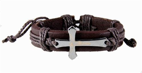 4030012 Leather Cross Crucifix Bracelet Tension Knot Wrap