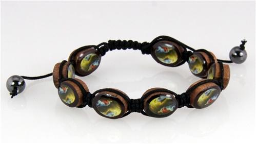 4030017 Christian Scripture Religious Shamballa Bracelet Wood Guardian Angel
