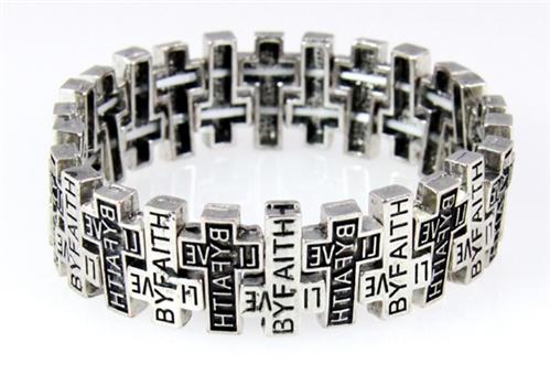 4030029 Christian Scripture Religious Bracelet Live by Faith Weaving Cross