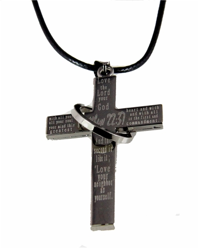4030032 Matthew 22:37 Cross Necklace Love The Lord Your God Bible Scripture