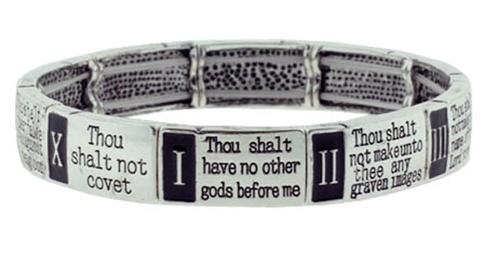 4030037 10 Commandments Stretch Bracelet Christian Scripture Religious Thou S...