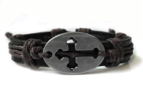 4030048 Cross Leather Bracelet Religious Scripture Inspirational
