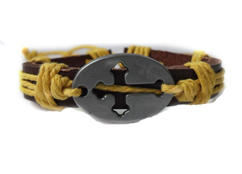 4030050 Cross Leather Bracelet Christian Religious Scripture Inspirational