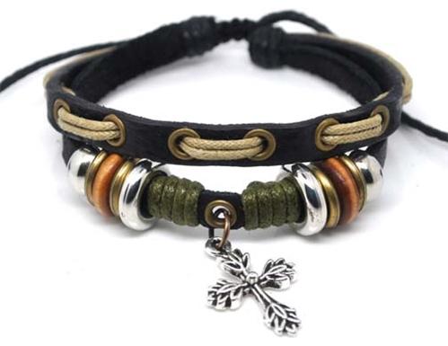 4030056 Leather Cross Bracelet Christian Religious Scripture Inspirational