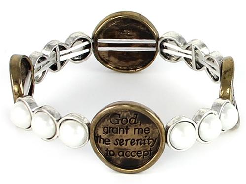 4030091a Serenity Prayer Stretch Bracelet Christian Scripture Religious AA NA...