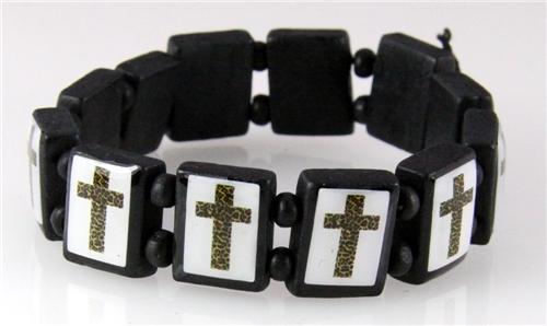 4030107a Wooden Bead Cross Bracelet Stretch Religious Stretch Beaded Block Beads