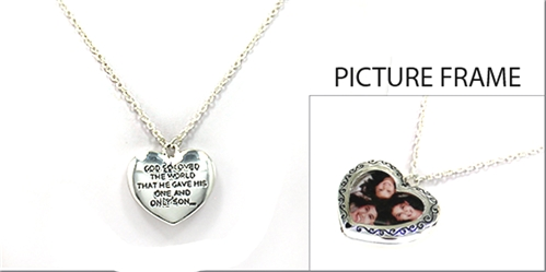 4030121 Picture Frame Locket Necklace John 3:16 Christian Scripture