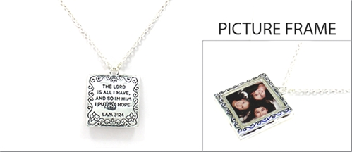 4030122 Picture Frame Locket Necklace Lamentations 3:24 Christian Scripture
