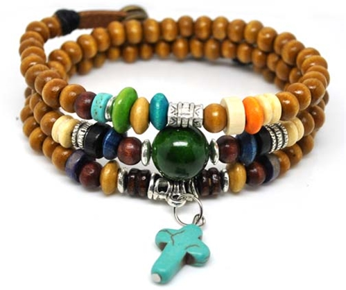4030148 Wood Bead Cross Wrap Bracelet Religious Inspirational Beaded