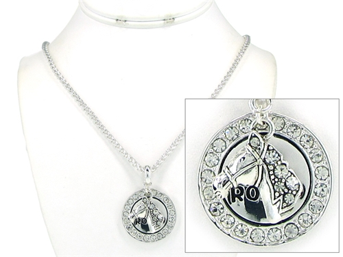 4030160 Rodeo Western Cowgirl Necklace with Horse and Sparkling Crystals