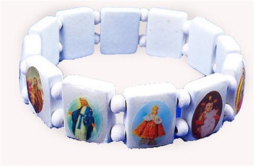 4030163 Saints Jesus White Bracelet Wooden with Beads Stretch