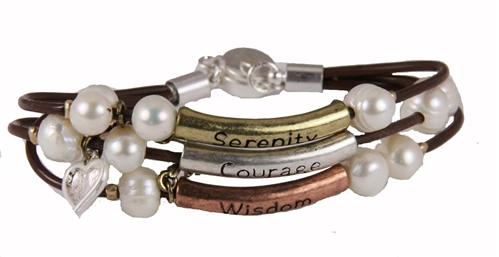 4030331 Serenity Prayer Wrap Cord Beaded Bracelet AA 12 Step One Day At A Time