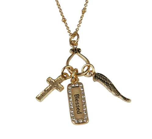 4030340 Angel Wing Cross Blessed Necklace