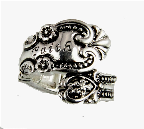 4030354 Spoon Style Stretch Ring FAITH Inscribed Antiqued Finish Jewelry