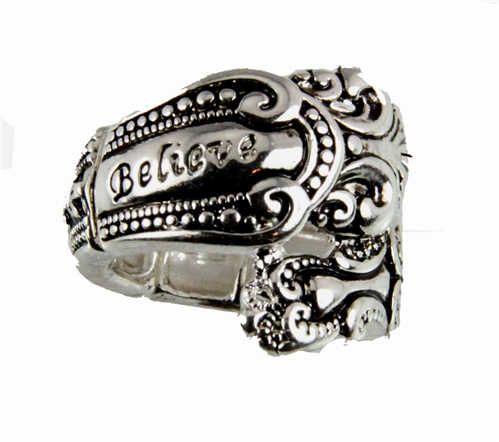 4030355 Spoon Style Stretch Ring BELIEVE Inscribed Antiqued Finish Jewelry