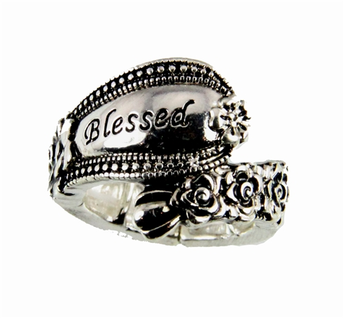 4030357 Spoon Style Stretch Ring BLESSED Inscribed Antiqued Finish Jewelry