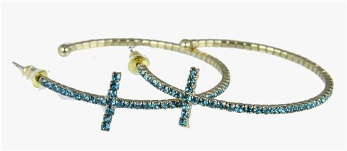 4030374 Rhinestone Cross Hoop Earrings Flexible Petite Christian