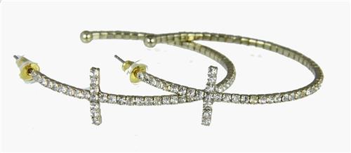4030375 Rhinestone Cross Hoop Earrings Flexible Petite Christian