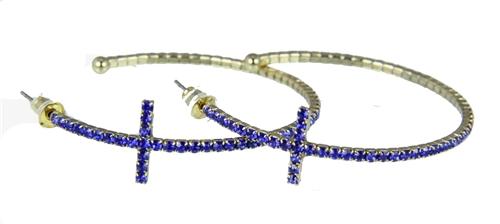4030377 Rhinestone Cross Hoop Earrings Flexible Petite Christian