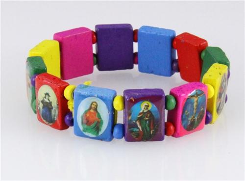 4030459 Wood Holy Saints and Icons Christian Jesus Christ Stretch Bracelet Ca...