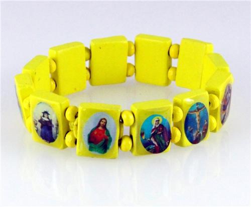 4030461 Wood Holy Saints and Icons Christian Jesus Christ Stretch Bracelet Ca...