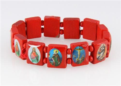 4030462 Wood Holy Saints and Icons Christian Jesus Christ Stretch Bracelet Ca...
