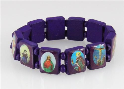 4030463 Wood Holy Saints and Icons Christian Jesus Christ Stretch Bracelet Ca...