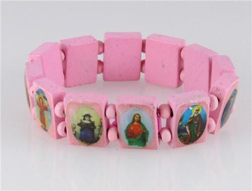 4030465 Wood Holy Saints and Icons Christian Jesus Christ Stretch Bracelet Ca...