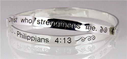 4030467 Scripture Bangle Bracelet Religious Philippians 4 13
