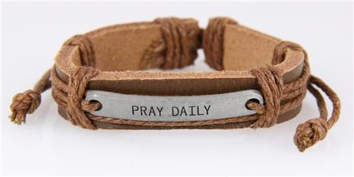 4030515 Pray Daily Leather Bracelet Scripture Religious