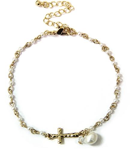 4030591 Beaded Cross Anklet Bracelet Ankle Band Summer Beach Christian Jewelry
