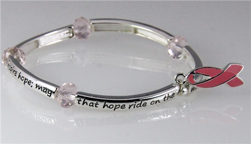 4030686 Pink Ribbon Stretch Bracelet T Cancer Awareness Inner Strength Hope
