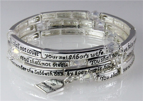 4030709 10 Commandments Coil Bracelet Exodus Religious Cross Scripture