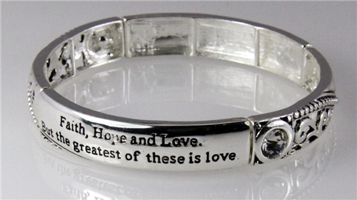 4030725 1 Corinthians 13 Faith Hope Love Stretch Bracelet Religious Cross Chr