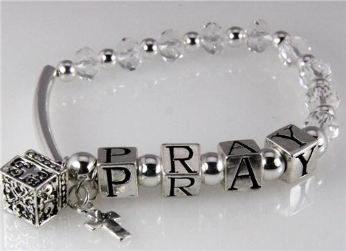 4030741 Pray Beaded Charm Stretch Bracelet Religious Jewelry Prayer