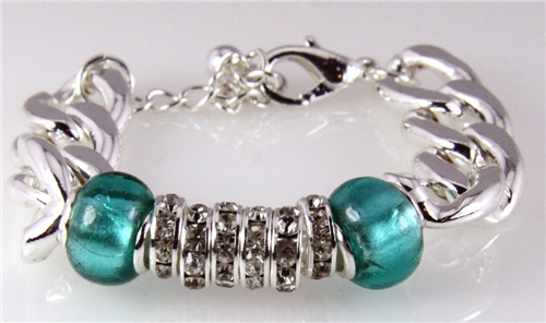 4030769 Beautiful Bead and Chain Fashion Bracelet Stretch Turquoise