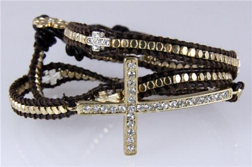 4030825 Leather Cross Wrap Bracelet Fashion Jewelry Religious