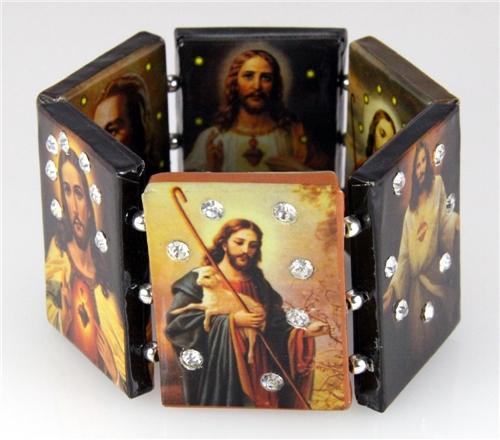 4030839 Jesus Stretch Bracelet Saints Icon Christian Religious Bible
