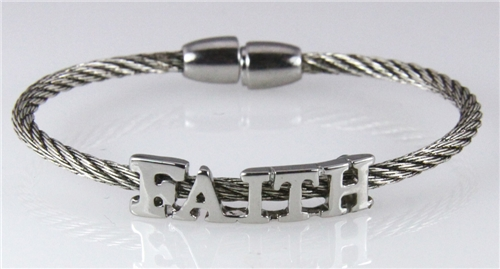 4030850 Faith Steel Twisted Cable Bracelet Inspiration Hope Rugged