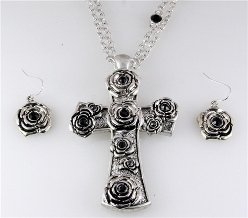 4030857 Beautiful Cross and Earring Set with Rose Flowers Christian Fashion