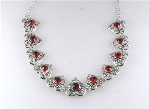 """4030894 Tailored Style Filigree Ruby 16"""" Necklace Bubble Antique Like Heirloom"""