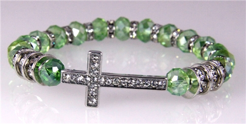 4031121 Cross Beaded Stretch Bracelet Mint Green Faceted Crystal Be