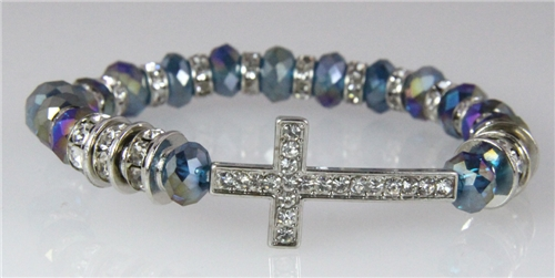 4031122 Cross Beaded Stretch Bracelet Blue Irredescent Faceted Crys