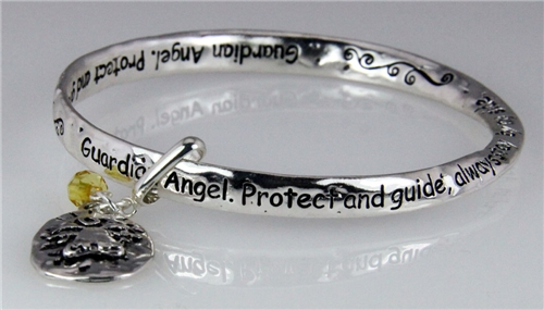 4031136 Guardian Angel Twisted Solid Bangle Stackable Religious