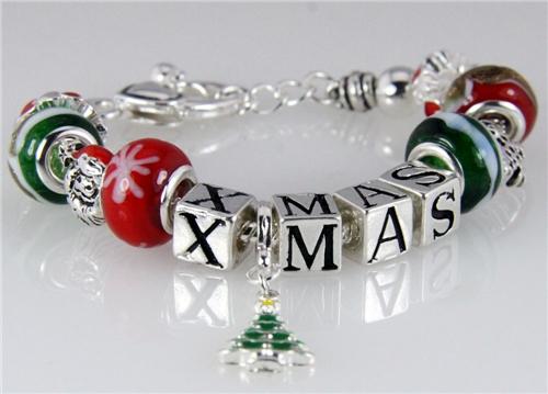 4031151 Pandora Style Christmas Red Green Bead Beaded Bracelet Stackable Reli...