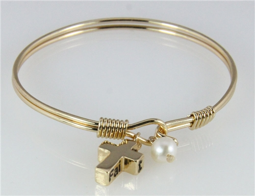 4031157 Cross Charm Wire Bracelet Gold Plated Religious