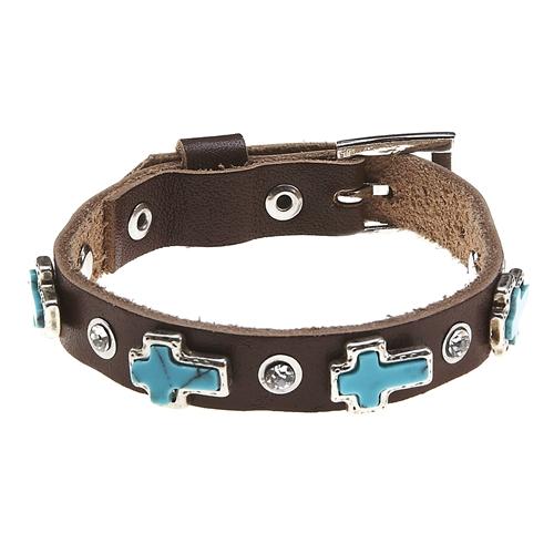 4031237 turquoise cross leather belt buckle style bracelet