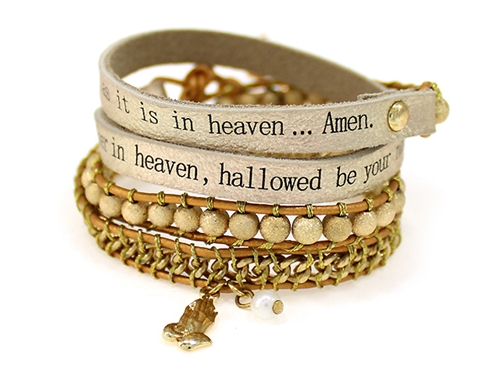 4031301 Lords Prayer Leather Wrap Bracelet Woven Beads Our Father Praying Hands