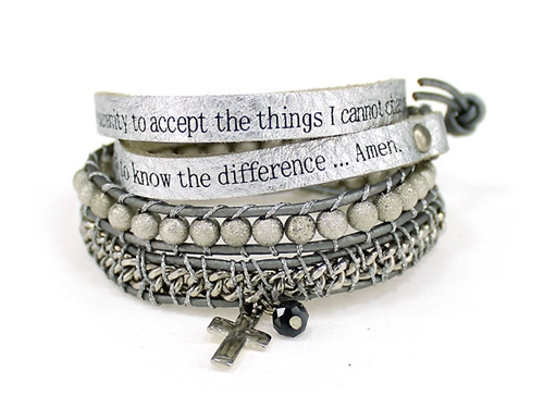 4031302 Serenity Prayer Leather Wrap Bracelet Woven Beads Aa One Day At A Tim