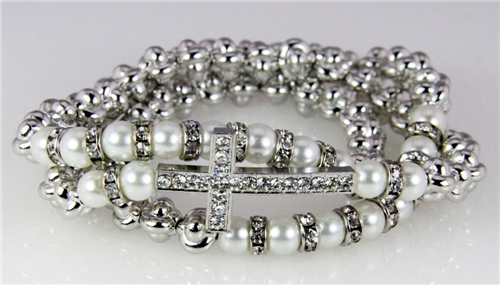 4031347 Absolutely Stunning Christian Cross Silver Tone Beaded Wrap Stretch B...